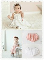 Wholesale Pants Braces Strap - 2016 New Fashion white pink cute Baby Children Girls skirt with shoulder-straps suspender skirt braces skirt+pants two-piece dress a0078