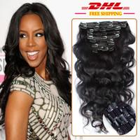 hızlı nakliye bakire brezilya saçı toptan satış-Hızlı Kargo 10A Sınıf 100% Brezilyalı Virgin Remy İnsan Saç Uzantıları Klipler 8 adet / takım Tam Kafa Doğal Siyah 1B Vücut dalga