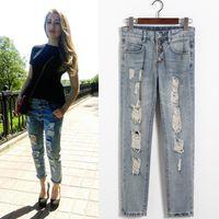 Wholesale Women Bound Jeans - Autumn vogue broken hole light blue Xia Xinkuan Korean Woman Knicker Fashion Bound Feet Haren Pants Ma'am Jeans