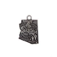 ingrosso fascia di clip in plastica-New Cheap Arizona America State Map Charm argento antico placcato viaggio gioielli ciondolo