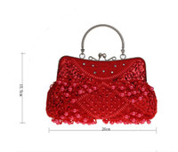 Wholesale Handbags Cheapest Price - The Cost Price Cheapest Evening Bags Handbags Party Handbag Beaded Sequins Pearl Woman Bags Grape Black Red Golden 15.5*26cm Free Shipping