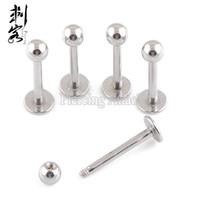 16 gauge piercing großhandel-Chirurgische Stahl Lip Piercing 16 Gauge Labret Ring Lot von 100 Stück versandkostenfrei