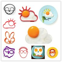 Wholesale Egg Cute - 2016 new Breakfast Creative Silicone Cute Fried Egg Mold Sun Cloud Rabbit Owl Human Faces Skeleton Skull Pancake Mold Kids Diy cooking tools