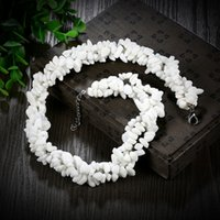Natural White Stone Gravel Beaded Necklace for Women Jóias Venda Por Atacado Moda Longo Chip Beads Strand Necklace Gift N031-D.