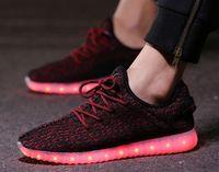 Wholesale Ladies Designer Black Lace Dress - Kanye West Boost Casual Led Shoes Light Up Loafers Sneakers Luxury Brand Ladies Designer Dress Walking Shoe High Platform Mesh Zapatos-ttr