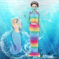 Wholesale Hot Bikini Cosplay - New hot 2017 Kids Girls Mermaid Tail Fancy Dress Girl Cosplay Mermaid Tail Costume Baby Girl Kids Bikini Set Suit