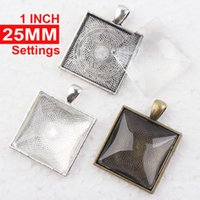 Wholesale Square Cabochon Settings - 1 inch Square Pendant Trays + glass cabochon set, Blank Pendant Bases, 25mm Bezel Pendant Settings for Glass or Stickers