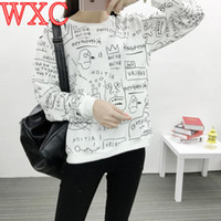 Wholesale Kim Korean - Wholesale- KPOP Bangtan Boys Hoodies Clothes Long Sleeve Women Hoodies Korean Kim Tae Hyung Graffiti Sweatshirts WXC