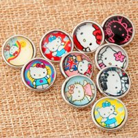 Wholesale Cartoon Mix Buttons - 18MM Snap Buttons Metal Glass Noosa Chunks 10 Mix Cartoon Anna Elsa Minions Style Fit Women Kids Diy Jewelry Charm Button Bracelet 4