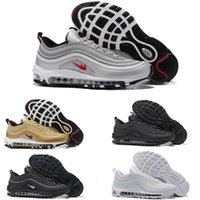 Wholesale Mens Cheap Sport Casual Shoes - 2017 NEW Hot Mens Fashion gold Maxes 97 Running Shoes Cheap Maxes Sole Cushions Sports Basketball Casual Shoes Eur 36-46