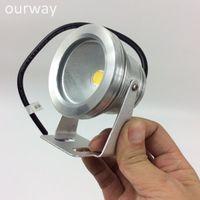 Wholesale 12v Underwater Led Spotlights - Full Aluminum Silver Body Coloful Light Emitting IP67 12VDC LED 10W Underwater Spotlight, Light Angle Adjustment and Screw Fixing