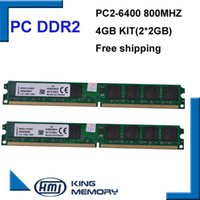 Wholesale Ram Memory Ddr2 Dimm - DDR2 800Mhz 4GB KVR800D2N6 2G (Kit of 2,2X 2GB for Dual Channel) PC2-6400 Brand New DIMM Memory Ram For desktop computer