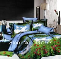 Wholesale Green White Flowered Quilt - green grass tree red flower white swan love bedding set for full queen polyester duvet quilt cover bed linen comforter set 4\5pc