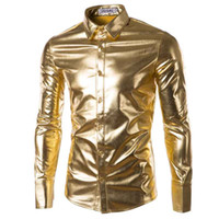 Wholesale Long Dresses For Night Party - Wholesale- Mens Trend Night Club Coated Metallic Halloween Gold Silver Button Down Shirts Party Shiny Long Sleeves Dress Shirts For Men