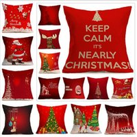 Wholesale reindeer pillows - Christmas Decorations For Home 1pcs Reindeer Jute Pillow Cover Case MERRY CHRISTMAS Square Linen Kerst Noel
