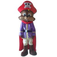 Wholesale Squirrel Mascot Adult Costume - SX0724 a small squirrel mascot costume with a purple shirt and a cloak for adult to wear