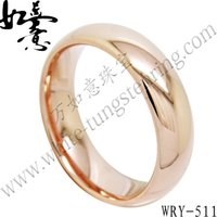 Wholesale Polish Rose Ring - High Polish Half Round Rose Gold Tungsten Ring Jewelry Finger Ring WRY-511 Hot Sales 6mm