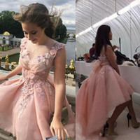 Wholesale floral high low prom dresses - 2017 Blush Pink High Low Prom Dresses 3d-Floral Appliques Lace Jewel Formal Party Dresses Custom Made Plus Size A Line Dresses Evening Wear