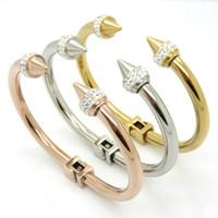 Wholesale Stainless Cuffs Female - Top Quality Fashion Women Female Jewelry Charm Bracelets Stainless steel rivets Rhinestone Cuff Bracelet Bangle Bijioux Pulsera