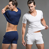 Wholesale Men Undershirt Short Sleeves - Hot Men Pajamas Set Casual Sports Sexy Sleepwear Mens Underwear Tees Undershirts Tshirts Casual Short Sleeves Nightwear JK0043
