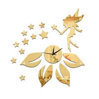 ingrosso orologi di fiori acrilici-Adesivi murali in acrilico specchio 3D orologio Home Decor creativo fai da te fata fiore stella Camera da letto intagliata adesivi decorazione rimovibile 2017 all'ingrosso