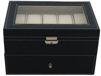 Wholesale Mens Watches Display Cases - Black Leather 20 Grid Mens Watch Display Case Glass Top Jewerly Box Organizer Lg