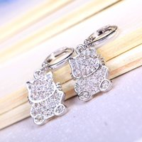 Wholesale Silver Evening Dress Wholesale - 2016 12.5mm Hello Kitty Brand New Silver Stud Earrings Split Evening Dresses Accessories crystal Earrings Hot Sales oscar Free shipping9