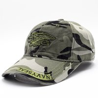 Wholesale Camouflage Baseball Hats - Fashionable outdoor men's and women's camouflage baseball caps Washed awning hat navy cap can adjsut the size D17-37