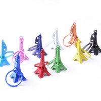 Wholesale Eiffel Tower Boy - Paris Eiffel Tower Keychain Mini Eiffel Tower candy color Keyring store advertising promotion service equipment