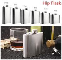 4oz flaschen großhandel-Mode Flachmann 6 Größen 4oz-10oz Edelstahl Pocket Retro Whiskey Flask Weinflasche Liquor Schraubverschluss mit Trichter