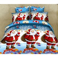 Wholesale Cheap Comforter Sets Queen - Christmas Cheap 3D Bedding Sets 4pcs Santa Pattern Design Printed Comforter Sets Queen Size Duvet Cover Bed Sheet free shipping
