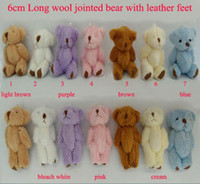 Wholesale Wholesale Teddy Bear Gift Bags - H=6cm Bulk 100pcs lot Cartoon Long Wool Plush Mini Joint Small Bear Bare Teddy Bear For Key Phone Bag Promotional gift Stuffed Dolls