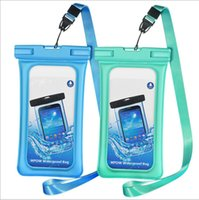 Wholesale Ipx8 Waterproof Case - Floating Airbag Designer waterproof phone bags TPU waterproof phone case dry bags with neck strap IPX8 phone bags