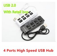 Wholesale 480mbps High Speed Mini USB Hub Socket Style Ports Multi Charger Hub USB On Off Adapter Switches For PC Laptop