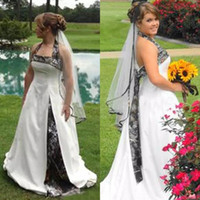 Wholesale China Sale Summer Dresses - 2017 Hot Sale Camo Wedding Dresses Aline Cheap Halter White Satin Long Garden Country Bridal Gowns Custom Made China EN9301