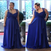Wholesale White Dress Black Curve Lines - Fabulous Plus Size Prom Dresses Royal Blue Chiffon Long Evening Party Gowns for Curve Girls Sheer Lace Straps Open Back Formal Wear