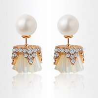 Wholesale Pearl Earring Jackets - Ear Jacket 18K Yellow Gold Plated Pearl Crystal Cluster CZ Front and Back Double Sided Stud Earrings