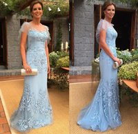 Wholesale Tulle Organza Sale - 2017 Hot Sale Blue Mother of The Bride Dresses Sexy Mermaid Long Evening Gowns Sheer Jewel with Lace Appliques and Beading Handmade Dresses
