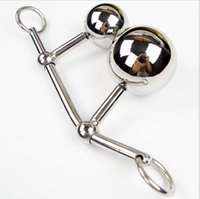 Wholesale Stainless Steel Double Butt Plug - Stainless Steel Hollow Hook Anal Ball with Cock Ring Men Anal sex Plug Chastity Device Double Balls Styling Tools Butt Toys Female Chastity