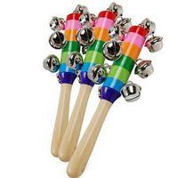Wholesale Pram Sets - Baby Rainbow Pram Handle 18CM Wooden Bell Stick Shaker Rattles Toy #2999 Free Shipping