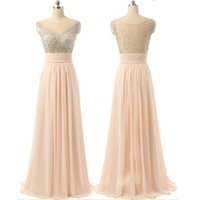 Wholesale Online T V - 2017 Pink Beaded Chiffon See-through Evening Special Occasion Dresses Back Charming Cocktail Evening Prom Dresses Online
