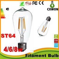 Wholesale lighting glass globe online - 360 degree Edison LED filament bulbs lights e27 B22 W W W AC110V V warm white ool White Transparent glass led bulbs