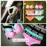 Wholesale Comfort Sets - Wholesale-Good Quality Love PINK Bra and Brief Sets Women Sexy Lingerie Comfort Underwear Panties 2 Pieces Set