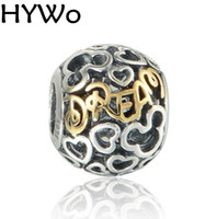 Barato 14k Charme Por Atacado-HYWo Brands Disny Heart Dream Beads se encaixa Pandora encantos diy Pulseira Beads 925 Sterling Silver 14K Real Gold Jewelry atacado