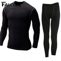 Hunting sport tech shirts - Falcon Men sport suits mens nylon running tights sets body fit fitness yoga spandex t shirt pants for men run athletics clothing