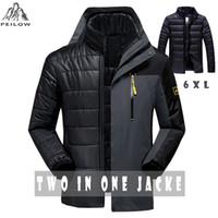 Wholesale worsted coat hoods - Wholesale-PEILOW Winter jacket men fashion 2 in 1 outwear thicken warm parka coat women`s Patchwork waterproof hood men jacket size M~6XL