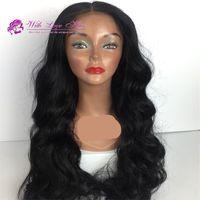 ingrosso parte centrale dei capelli neri-Parrucca sintetica parrucca anteriore parrucca con parte centrale in pizzo per donne nere parrucca sintetica resistente al calore