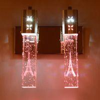 ingrosso specchio di cristallo moderno-Lampada da parete moderna in cristallo K9 minimalista Lampada da comodino a colonna in cristallo Bubble Lampada da parete per soggiorno Lampada da parete a specchio 2 luci