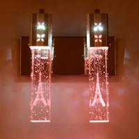 espelho k9 venda por atacado-Modern Minimalista K9 LED Lâmpada de Parede de Cristal Bolha de Cristal Coluna Lâmpada de Cabeceira Sala de estar Lâmpada de Parede Espelho Da Lâmpada Da Frente 2 luzes