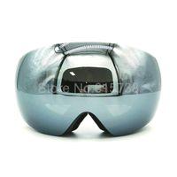 ingrosso occhiali da snowboard neri-Occhiali da sci nero motocross moto doppia lente protezione uv anti-fog occhiali da sci occhiali da snowboard eyewear pattinare google